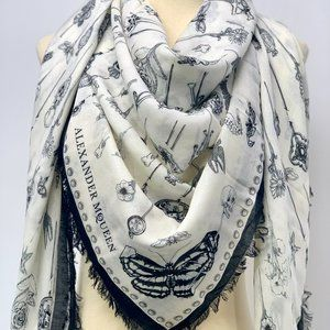 NWT ALEXANDER MCQUEEN Heirloom Pins Scull Scarf
